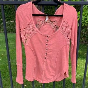 Free People Pink Lace Asymmetrical Long Sleeve Top